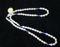 5mm White and Lapiz Lazuli Oval Freshwater Cultured Pearl Necklace with Silver clasp